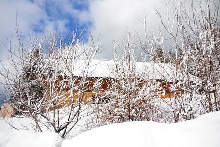 farm house in winter scene Stock Photo