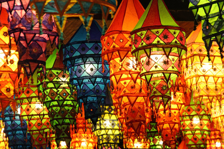 Colorful lanterns at a traditional festival in China manual focus