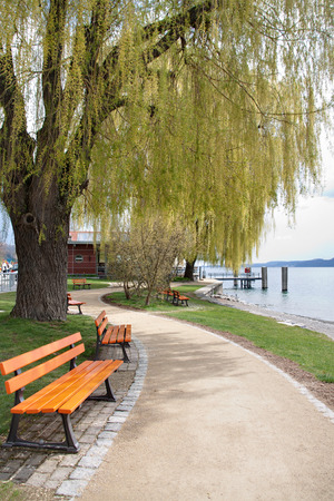 Promenade on the lake side of Constance Germany Stock Photo