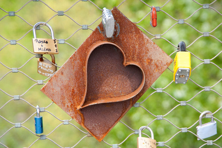 Heart locks on a bridge