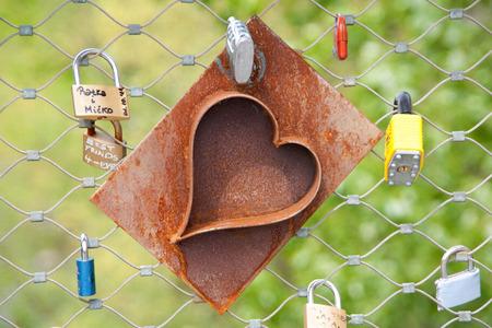 Heart locks on a bridge