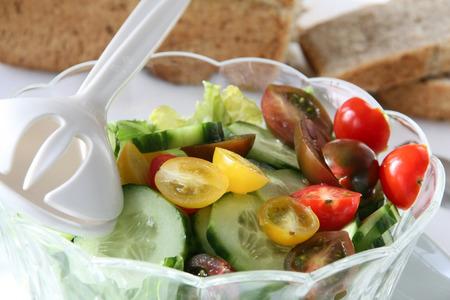 Vegetarian breakfast - Salad and whole wheat bread