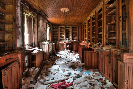 Abandoned library HDR - urban exploration Stock Photo
