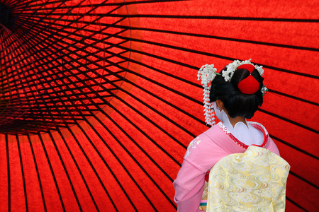 The back view of a Japanese Geisha