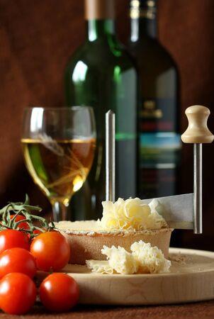 Swiss Cheese Specialty - Tete De Moine on the scraper Girolle, DOF on cheese Stock fotó