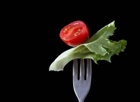 Food on Fondue Fork Series: Cherry Tomato and Salad Leaf