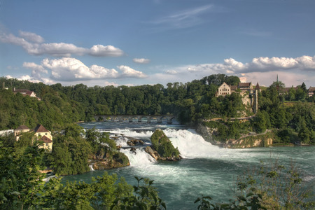 Overview of Rhine Falls - the biggest waterfall in Europe (HDR version)