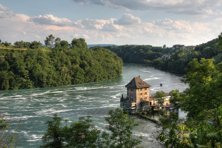Woerth Castle, a customs house in history, now a restaurant at the Rhine Falls, Switzerland (HDR version)