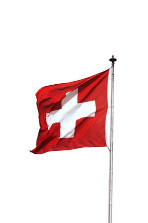 Swiss flag swinging on a pole, isolated