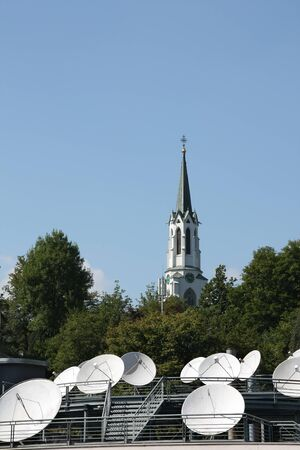 A contrast: Old Church and modern technology