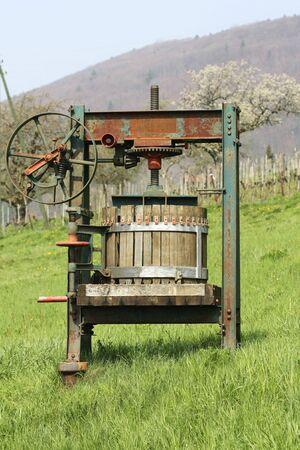 Vintage Grape Presser on the vineyard Stock fotó