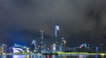 Night scene in Huacheng square