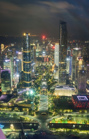 aerial view of Guangzhou city night