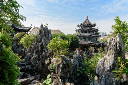 ancient chinese garden scenery
