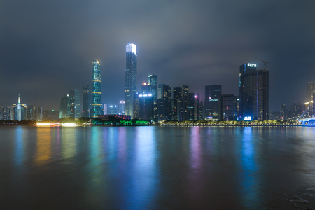 The night view of the Pearl River New Town