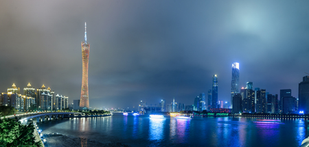 The Canton Tower and the Pearl River Metro night