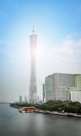 Canton Tower at the edge of the Pearl River