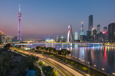 Canton Tower and the night view of the Pearl River New Town