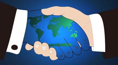 el mundo en tus manos: celebraci�n del mundo en sus manos  Foto de archivo