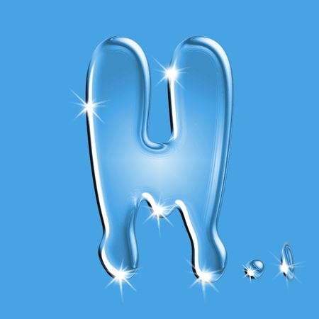 Beautiful blue water letter H alphabet symbol Stock Photo