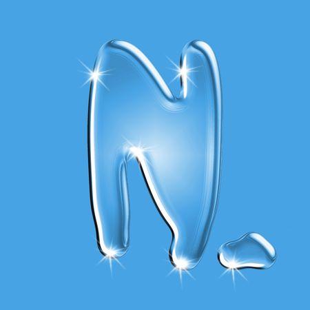 Beautiful blue water letter N alphabet symbol Stock Photo - 2876407