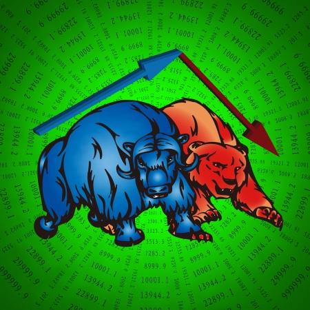 stock trader: Cartoon bulls and bear stock trading market metaphor