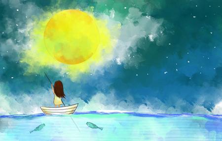 그림 외로운 여자의 그리기 보름달 위에 바다에서 항해 보트 노란색 달빛 밤 하늘입니다.