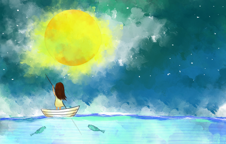 illustration drawing of lonely girl sail boat in the ocean over full moon yellow moonlight night sky.