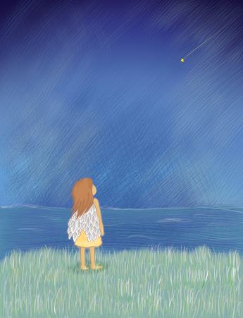 angel girl stand on hilltop looking at the sky with meteor star. Hope, wish, lonely, alone, freedom idea background concept Stock Photo