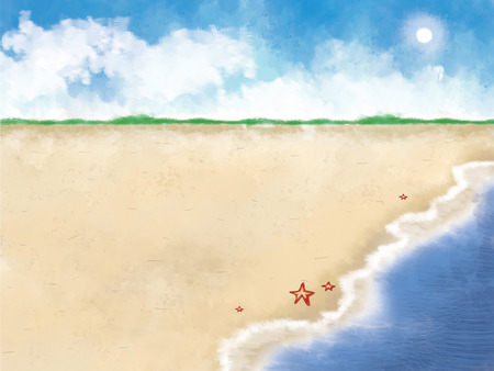 illustration of sunny blue sky ocean seashore with sea star sand beach. Stock Photo