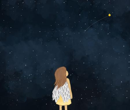 星空で流れ星を見ている小さな女の子天使の図面の図。暗い空の夜時間背景壁紙テンプレート デザイン。夢、ファンタジー、願いを作るのアイデア