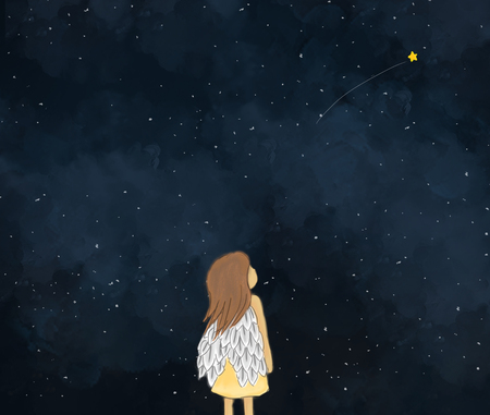 illustration drawing of a little girl angel looking at shooting star in starry night.Dark sky night time background wallpaper template design. Idea of dreaming, fantasy, making wishes Foto de archivo