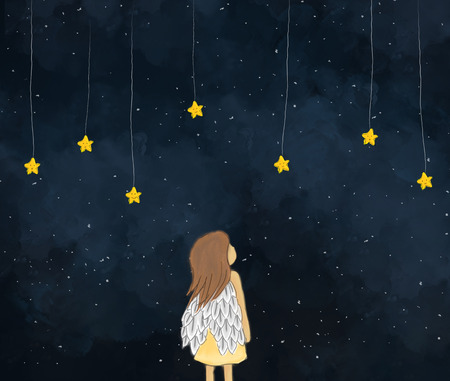illustration drawing of a little girl angel looking at yellow stars hanging in starry night. Cute face of stars. Dark sky night time background wallpaper template design. Idea of dreaming, fantasy