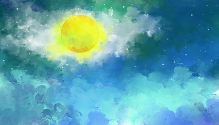 illustration drawing of full moon yellow moonlight night sky with clouds.