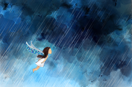 drawing illustration of girl angel with wings flying in raining night dark cloudy sky. Idea of lonely, brave, perseverance, fight, forward template background wallpaper. Stock Photo