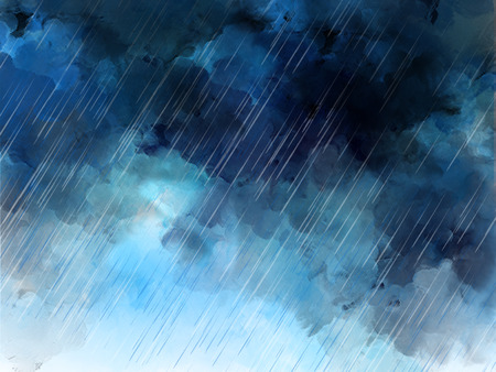 watercolor graphic illustration of heavy rain sky. Blue raining wallpaper. Raindrops template design background 스톡 콘텐츠