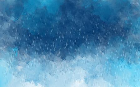 Illustratie tekening van de hemel regent. Het schilderen van regendruppels over de donkere ruimte van de wolkenhemel. Behang sjabloon grafisch ontwerp slecht weer concept Stockfoto - 85888197
