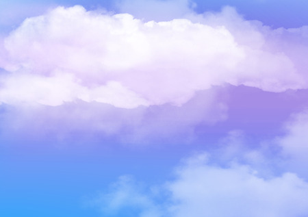 3d illustration of graphic clouds sky with pastel color pink & blue. Idea of nature, scenery, heaven, fluffy, ozone, religion, natural, fantasy& imagination. Wallpaper design template background