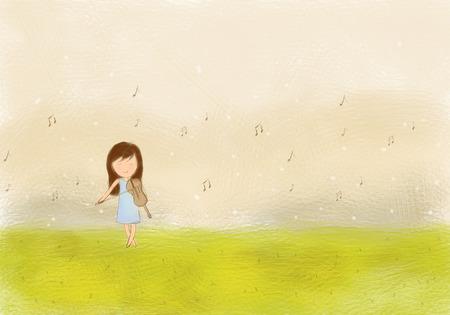 illustration drawing of lonely girl playing violin & music notes flying in the sky and green grass lawn field. Idea of nature, meadow, foliage, song, musical, melody, concept template wallpaper