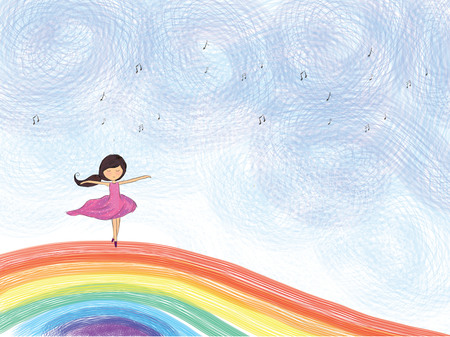 graphic illustration drawing of ballerina girl dancing on colorful rainbow with black music notes over blue sky. Idea of fantasy, cartoon, happy, melody, dream land, art, performance template design