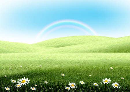 colorful rainbow with green grass lawn field over plain blue sky. Hope, happy, nature, natural idea template background