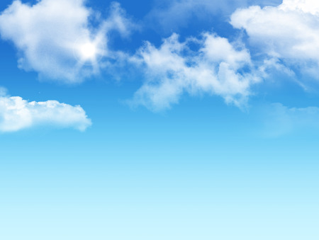 3D graphic clouds blue sky with sunlight. Idea of nature, scenery, heaven, fluffy, ozone, religion, clear, peace, natural. Wallpaper design template background