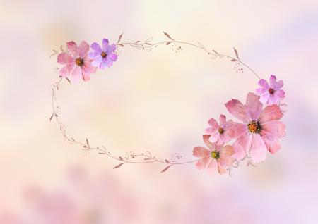 mooie roze bloemen met brunches, ovaal leeg ruimteontwerp voor het schrijven van tittle over onduidelijk beeldachtergrond. Pastel, zoet, romantisch, valentijnskaart, verjaardag, uitnodiging, huwelijks conceptontwerp achtergrondidee Stockfoto