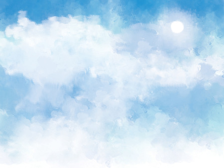 illustration graphic clouds blue sky with sunlight. Idea of nature, scenery, heaven, fluffy, ozone, religion, clear, natural. Wallpaper design template background Stock Photo