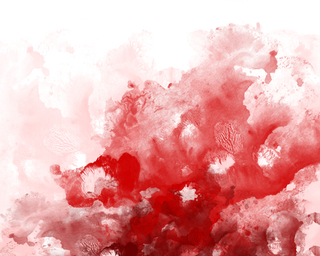 Red graphic watercolor grunge background. decoration abstract