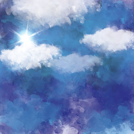 3D illustration graphic clouds blue sky with sunlight. Idea of nature, scenery, heaven, fluffy, ozone, religion, clear, natural. Wallpaper design template background