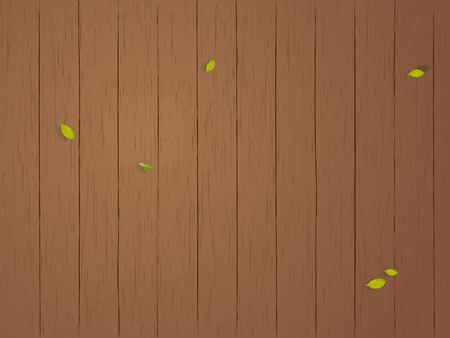leaves flying and wooden panels background template Stock fotó