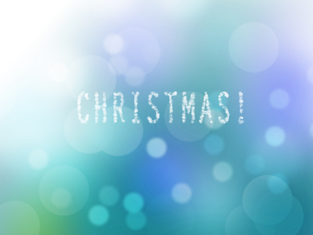 hand writing of christmas wordings text over blue green lights bokeh background. Advertisement, greeting, holiday, cold, card, sales, invitation, modern, xmas, festive celebration idea background