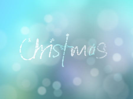 hand writing of christmas wordings text over blue turquoise lights bokeh background. Advertisement, greeting, holiday, cold, card, sales, invitation, modern, xmas, festive celebration idea background Stock fotó