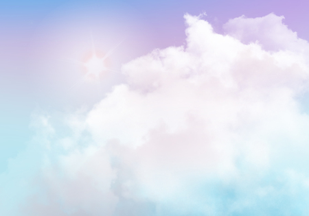 3D illustration graphic clouds purple blue sky with sunlight. Idea of nature, scenery, heaven, fluffy, ozone, religion, clear, natural. Wallpaper design template background